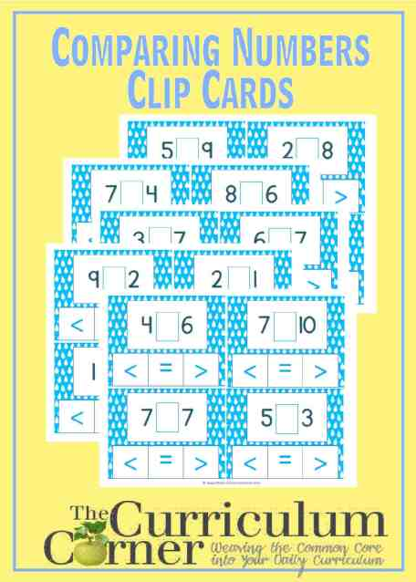 Comparing Numbers Clip Cards FREE from The Curriculum Corner