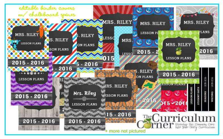 TONS of editable binder covers for your teacher planner! Lots and lots of styles FREE from The Curriculum Corner