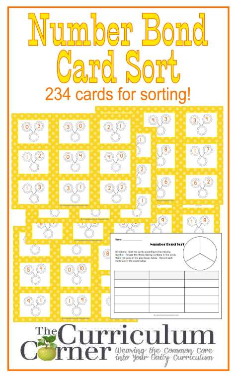 Number Bonds Sorting Cards FREE from The Curriculum Corner | Math Centers