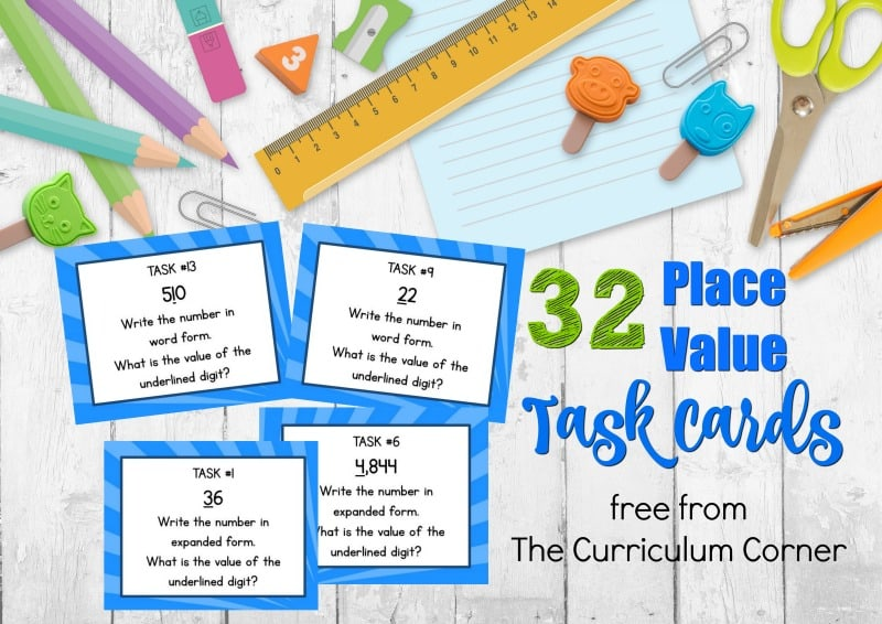 This set of free place value task cards is designed to give your students place value practice during math centers.