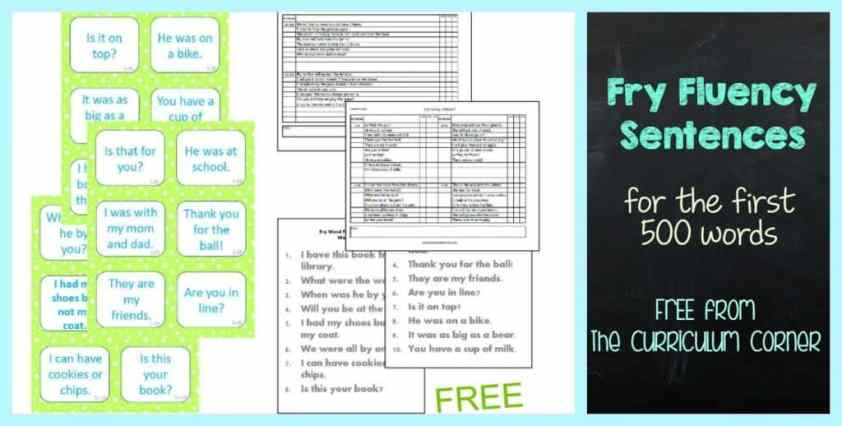 Fry Fluency Sentences FREE from The Curriculum Corner for the first 500 words | fluency practice | literacy centers