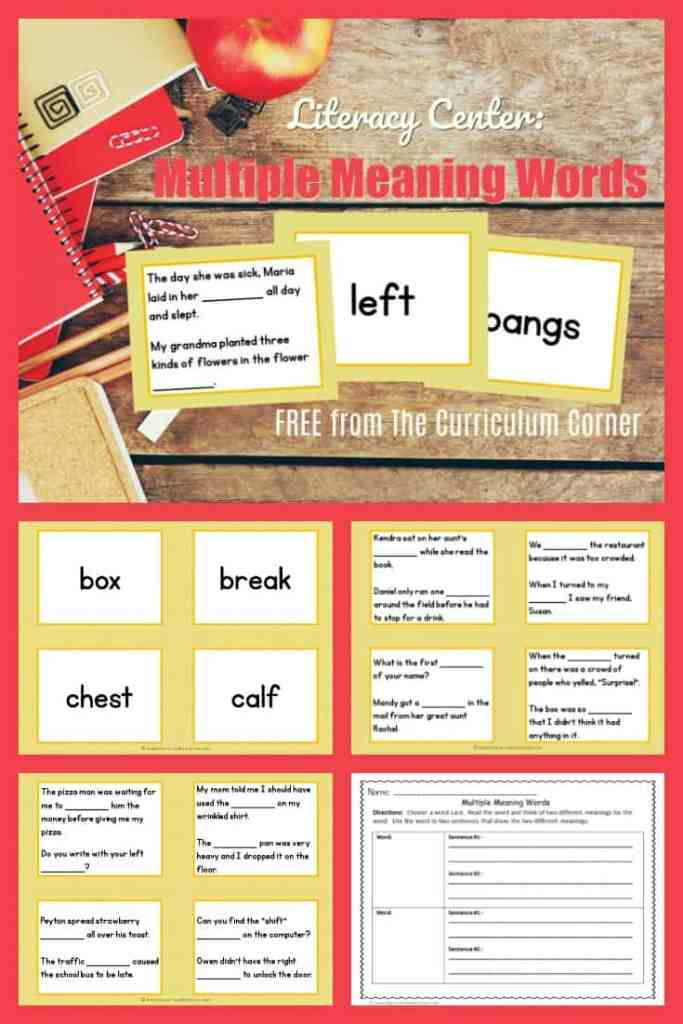 FREE Homonyms Literacy Center   Multiple Meaning Words