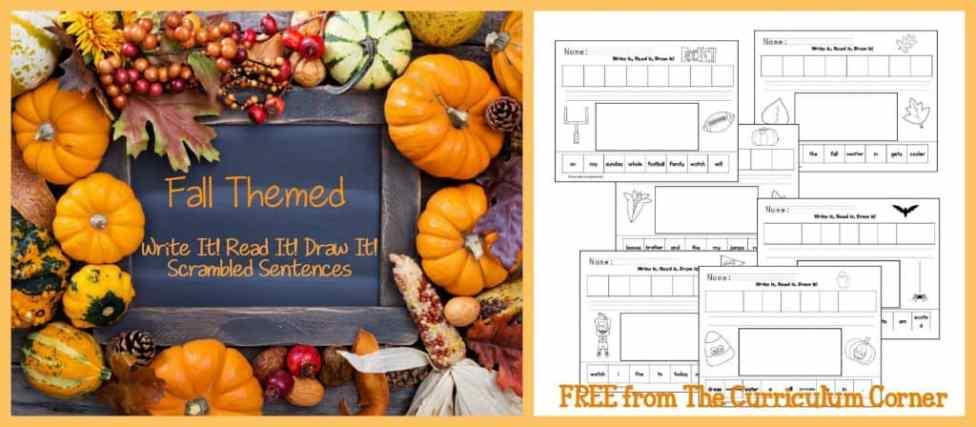 FREEBIE! Fall themed Read It! Write It! Draw It! Scrambled sentences from The Curriculum Corner