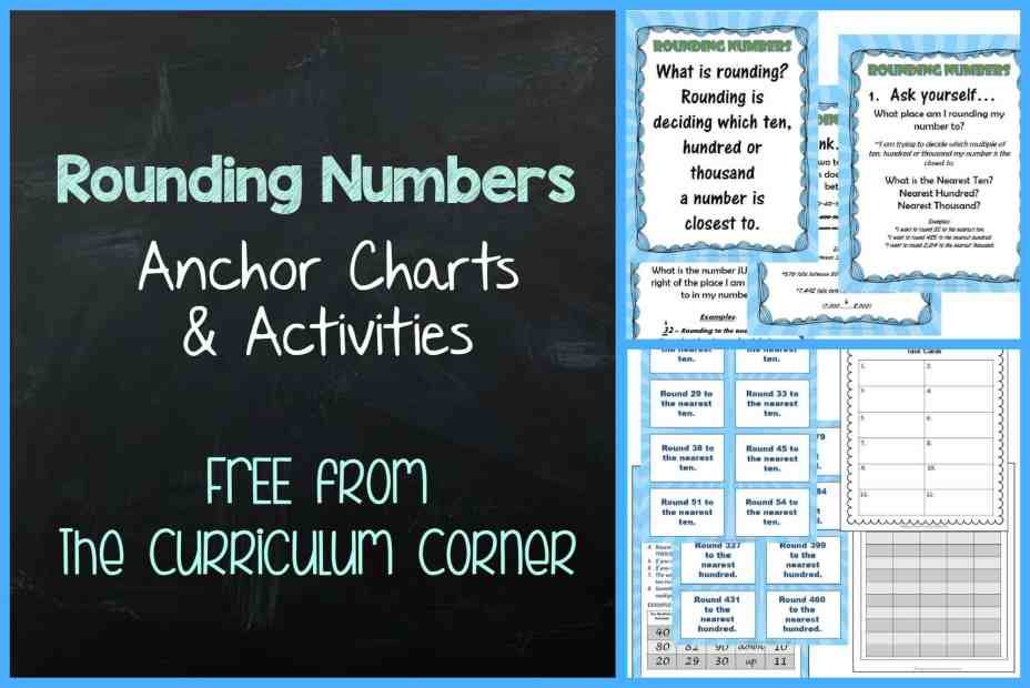 FREE! Rounding Numbers Anchor Charts & Activities from The Curriculum Corner