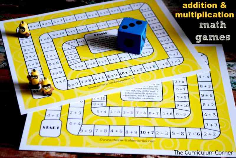 Addition & Multiplication Math Board Games FREE from The Curriculum Corner | Minions Math Games