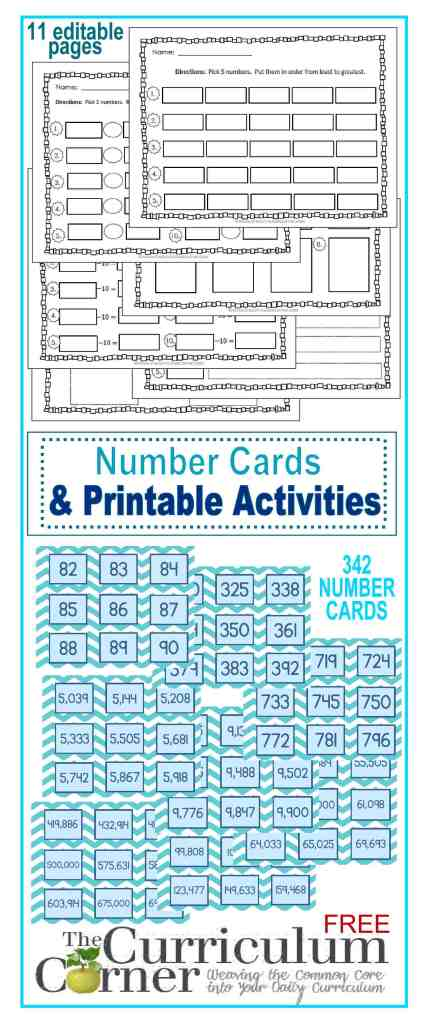 342 Number Cards + 11 Editable Recording Pages FREE from The Curriculum Corner - great math centers!