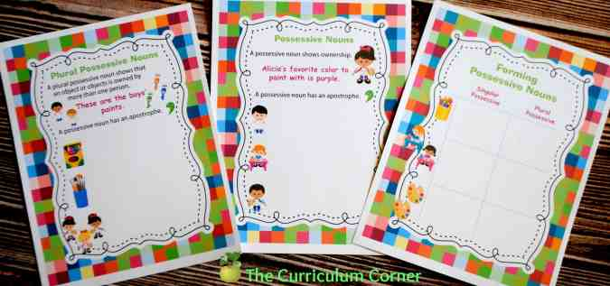 Possessive Noun Collection FREE from The Curriculum Corner: Mini-Lessons, Centers, Exit Tickets, Interactive Notebook Pages