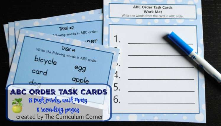 ABC Order Task Cards w/ Recording Pages & Work Mats FREE from The Curriculum Corner