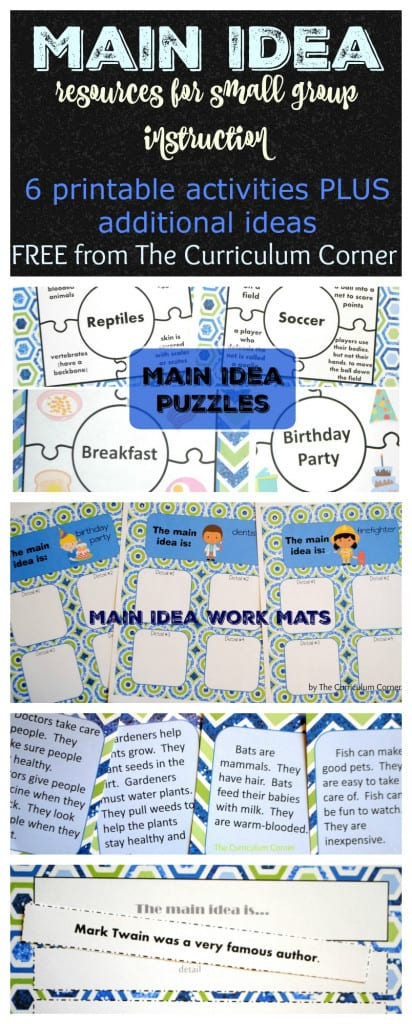 Main Idea & Details Resources for Small Group Reading FREE from The Curriculum Corner