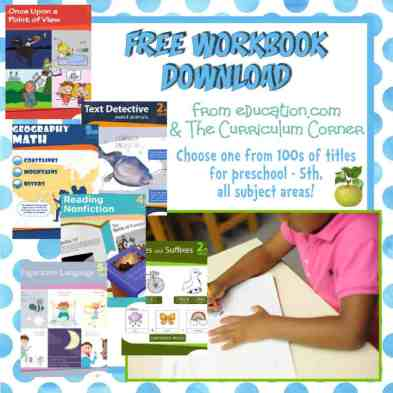 Free workbook download from education.com and The Curriculum Corner