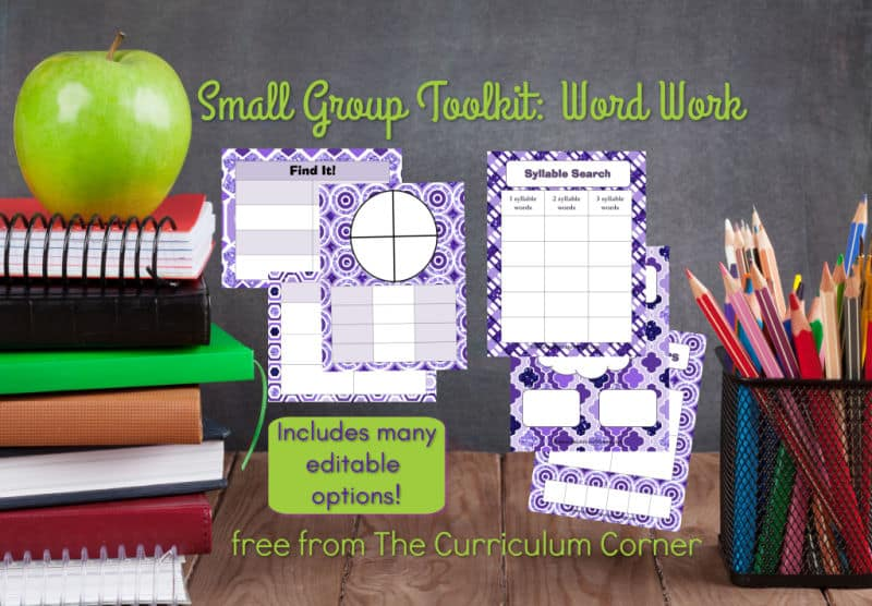 Small group toolkit - focus on word work