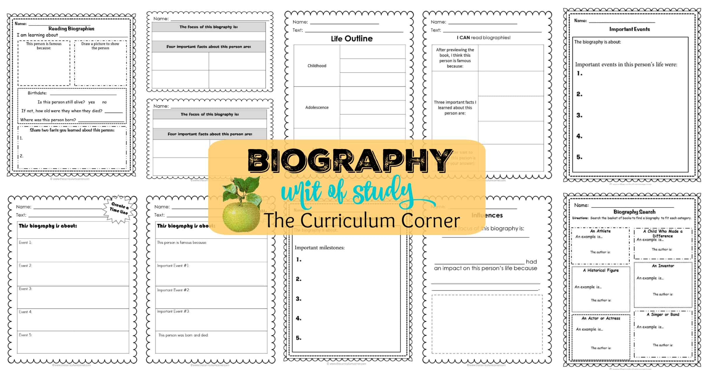 Biography Unit of Study for Reading - The Curriculum Corner 123 [ 1288 x 2442 Pixel ]