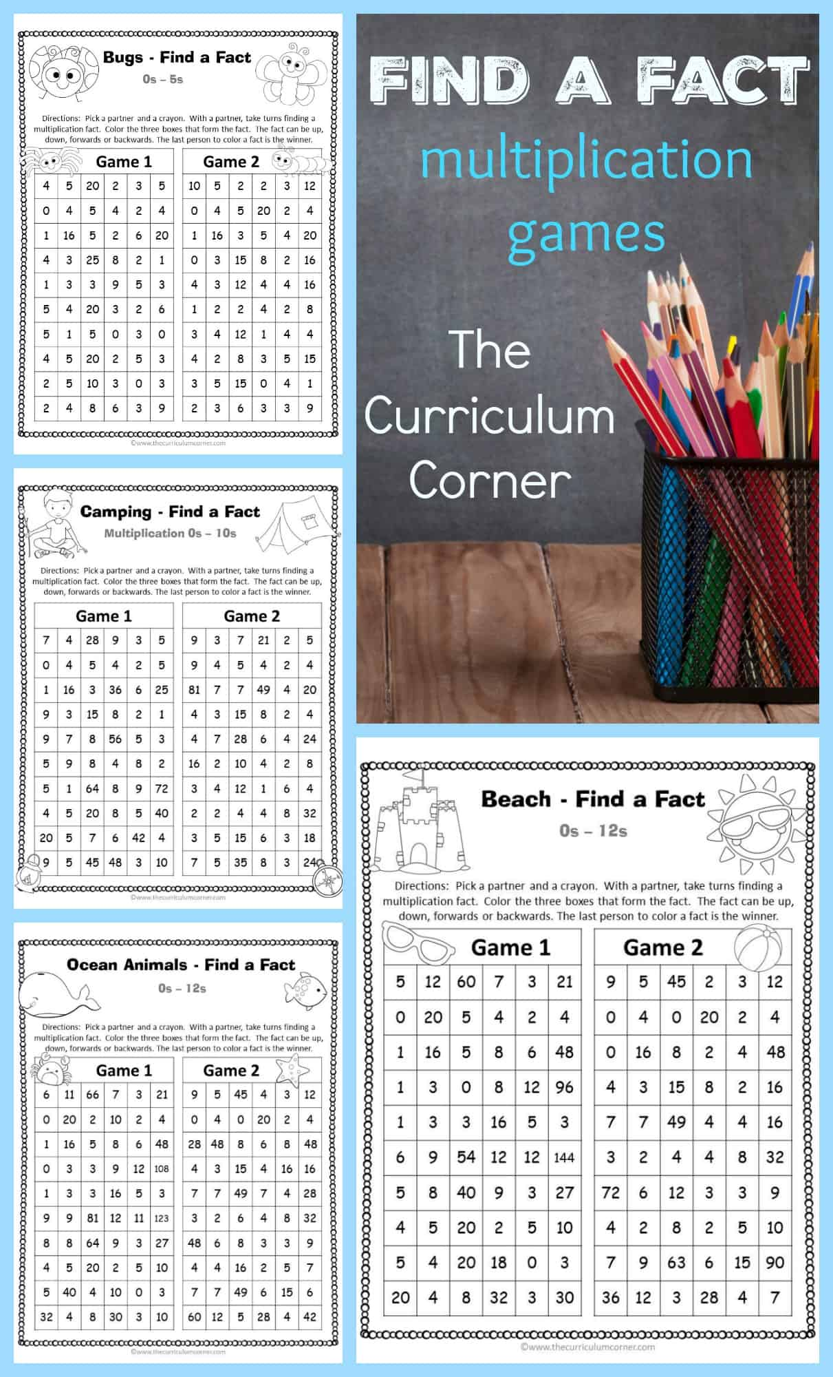 Find A Fact Multiplication Games