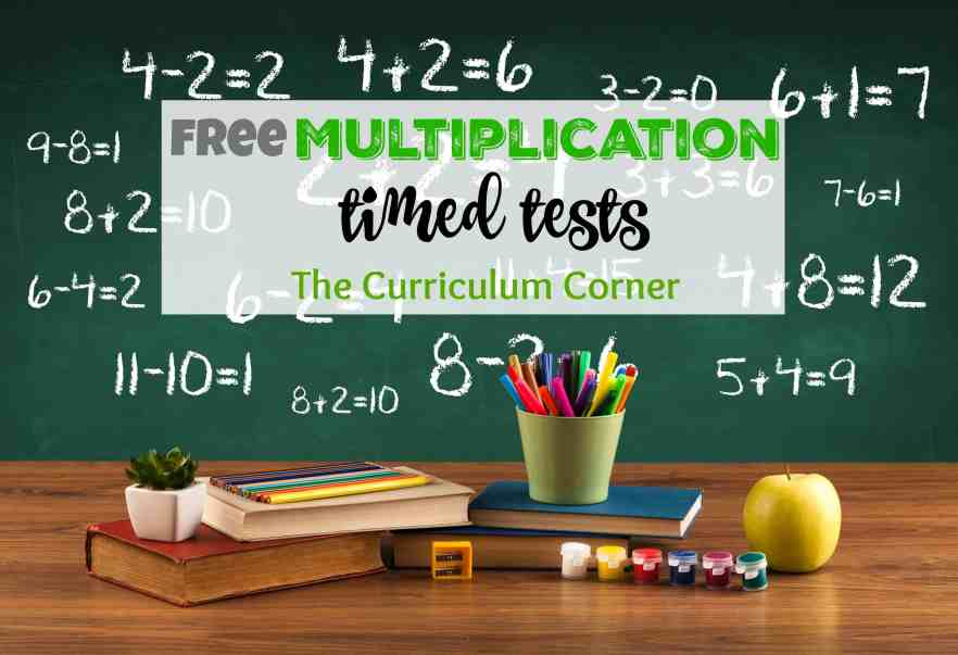 FREE multiplication timed test set for math fact mastery from The Curriculum Corner many pages in a single download