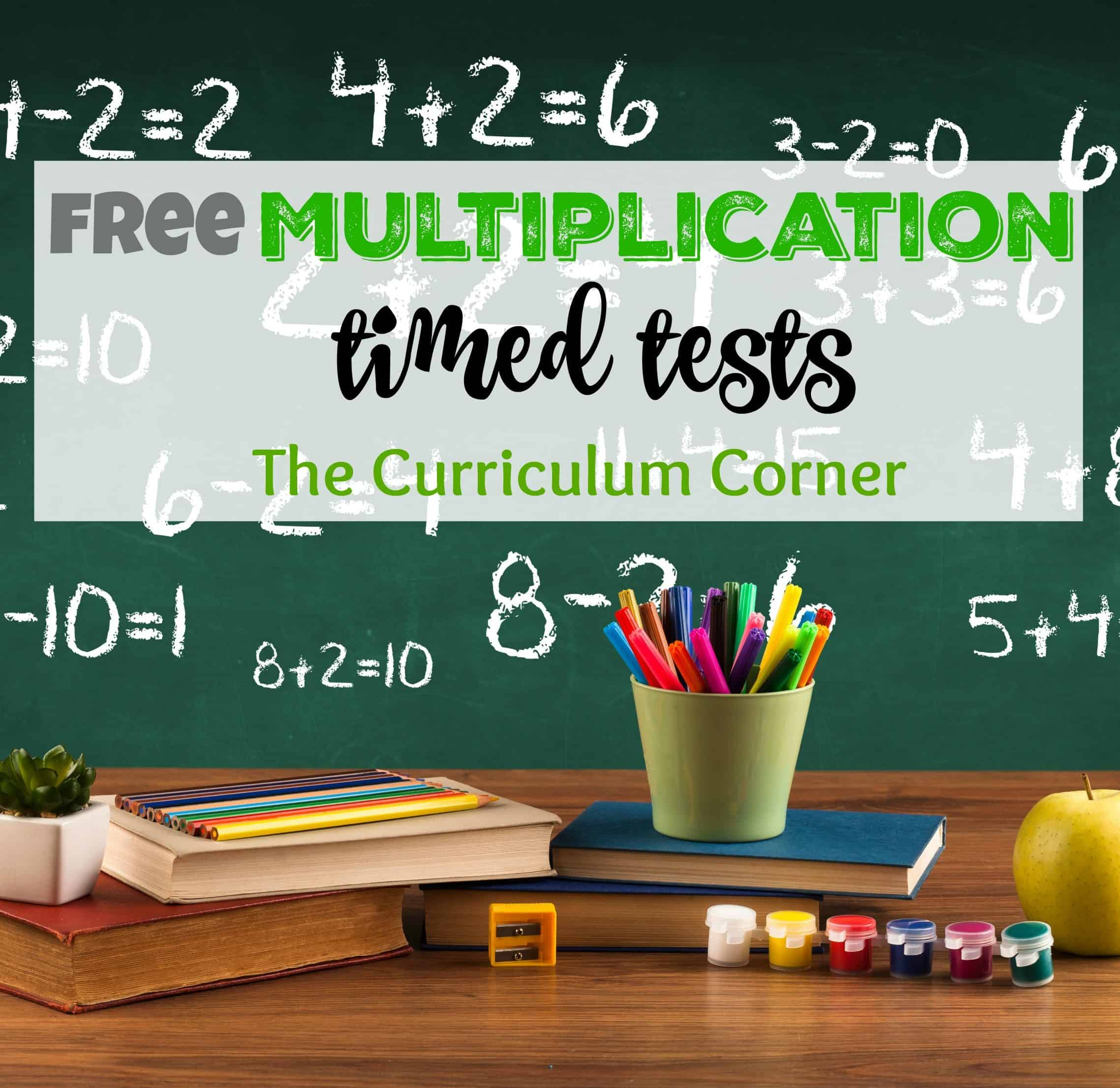 hight resolution of Multiplication Timed Tests - The Curriculum Corner 123