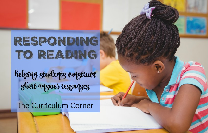 Literature response - Responding to Reading: Helping students construct short answer responses FREE from The Curriculum Corner   Constructed Response   Test Prep