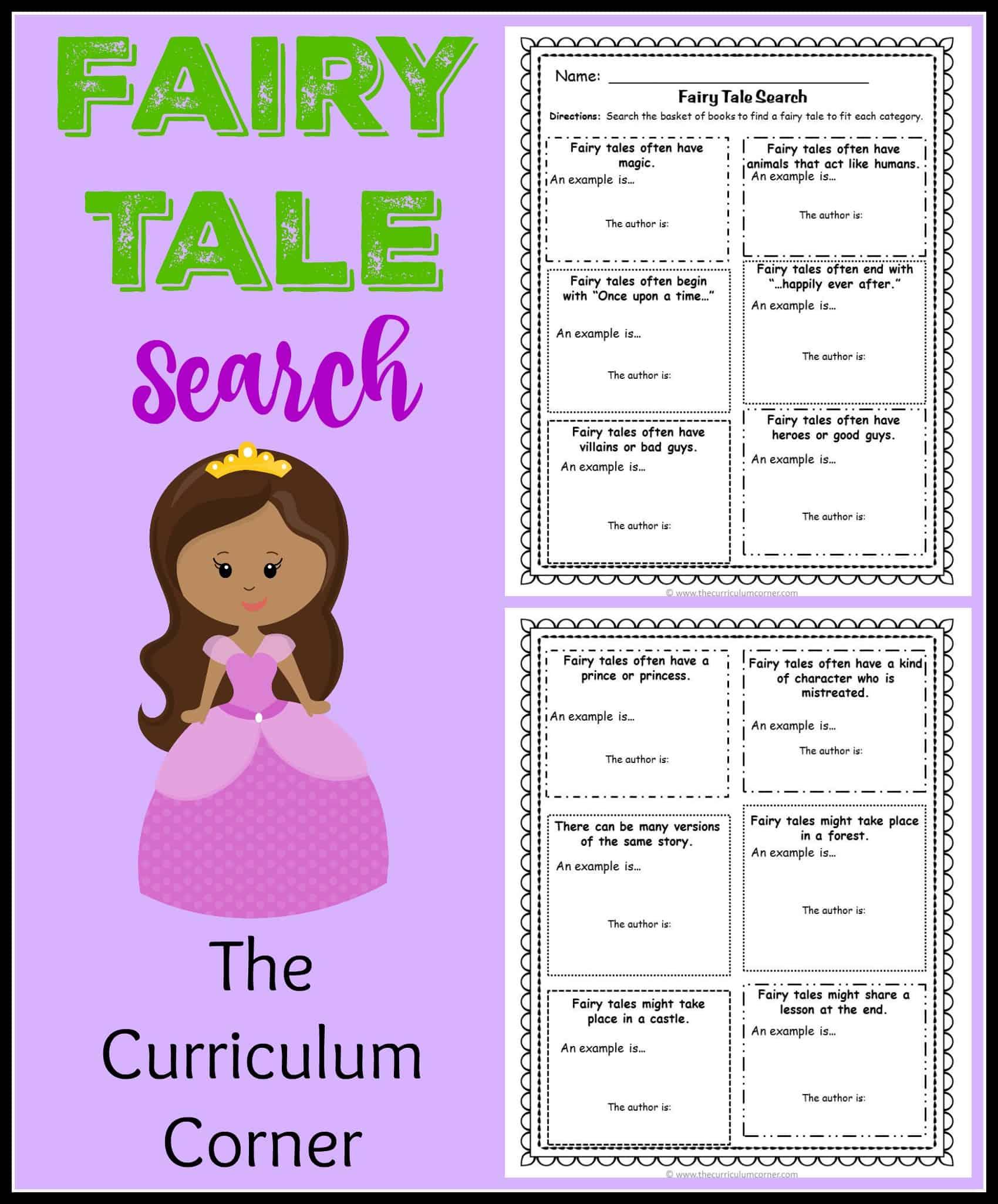 Fairy Tale Reading Unit of Study - The Curriculum Corner 123 [ 2050 x 1700 Pixel ]