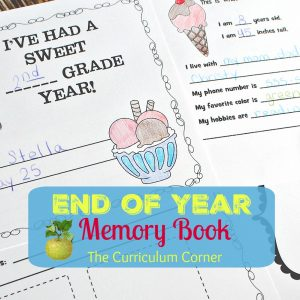 End of the Year Memory Book FREE from The Curriculum Corner   ice cream themed