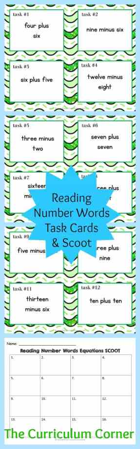 Reading Number Word Equations Task Cards & Scoot Game   Addition & Subtraction Facts   Reading Number Words   FREE   The Curriculum Corner