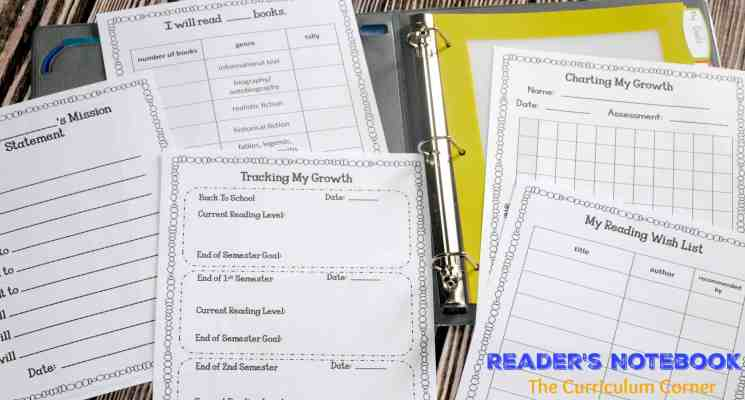Reader's Notebook | Free from The Curriculum Corner | goal setting | editable binder covers | mini-lesson summary