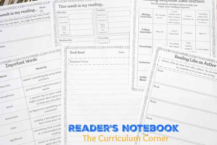 Reader's Notebook | Free from The Curriculum Corner | responding to reading | goal setting | editable binder covers | mini-lesson summary