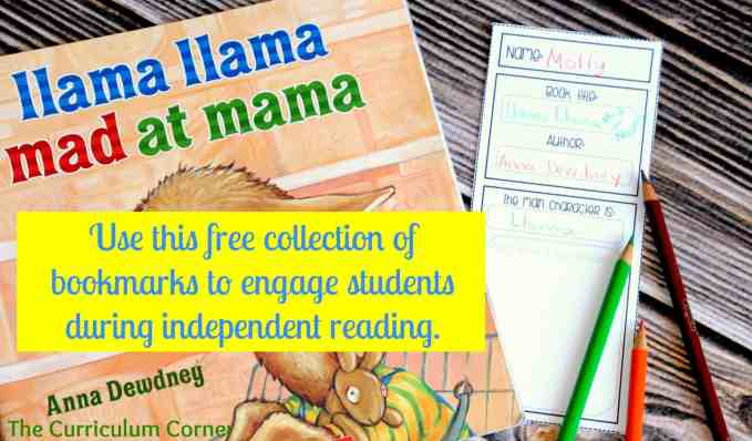 Freebie Editable Bookmarks for Independent Reading free from The Curriculum Corner