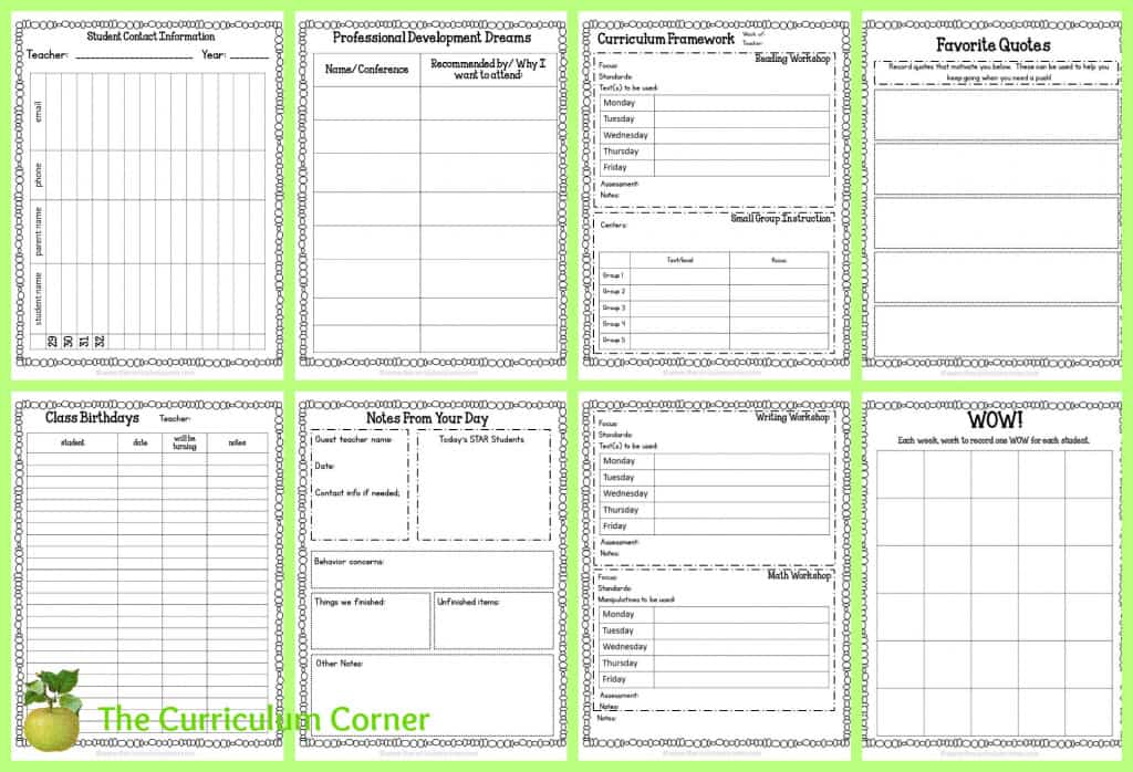 FREE Teacher Planning Binder from The Curriculum Corner - editable!