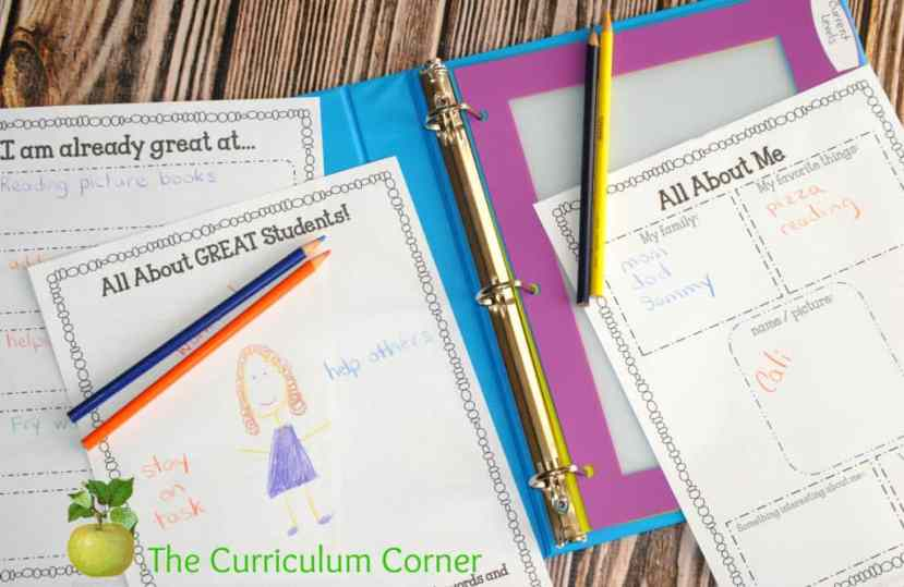 FREE Editable Student Data Binder from The Curriculum Corner with Beginning of the Year Activities