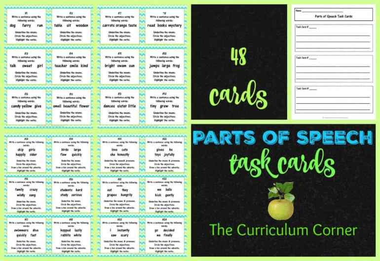 Language Task Cards can be used at literacy centers to help students practice parts of speech in an engaging way.