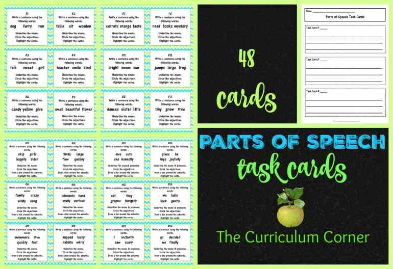 Language Task Cards FREE from The Curriculum Corner