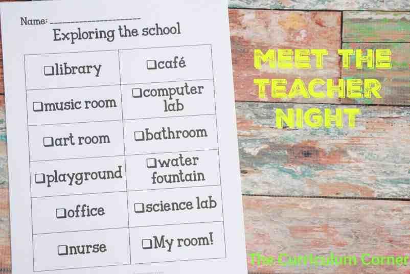 Meet the Teacher Night - The Curriculum Corner 123