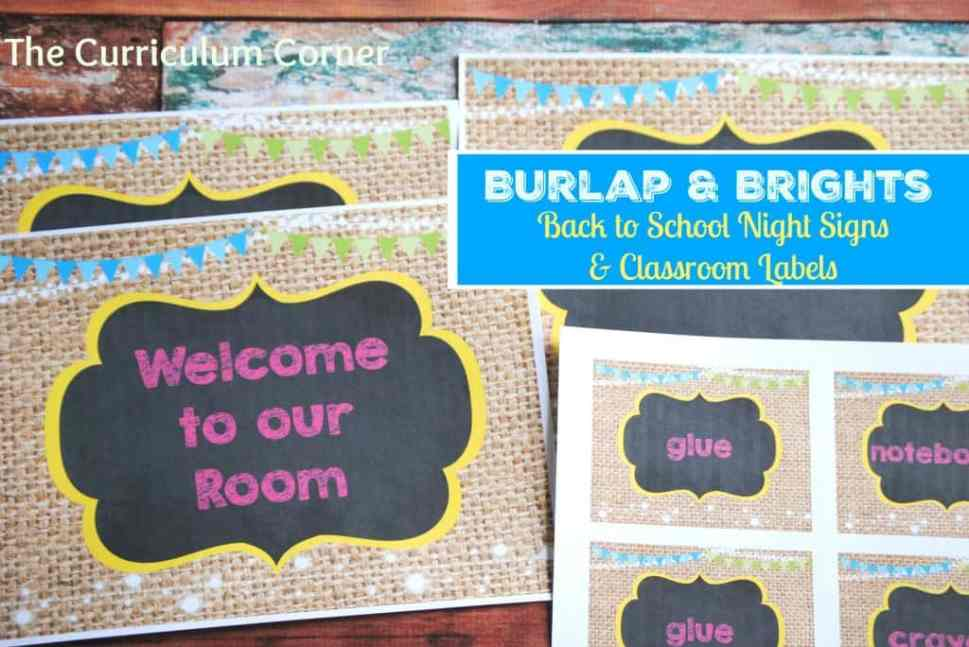 Burlap & Brights Classroom Signs and Labels for Meet the Teacher Night   FREE   The Curriculum Corner
