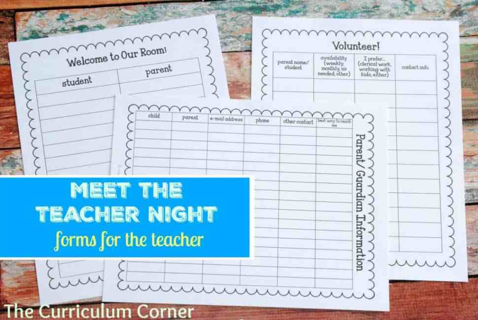 Meet the Teacher Night - The Curriculum Corner 123