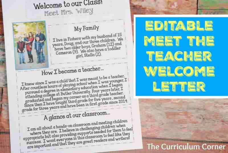 Editable Meet the Teacher Night Welcome Letter FREE The Curriculum Corner