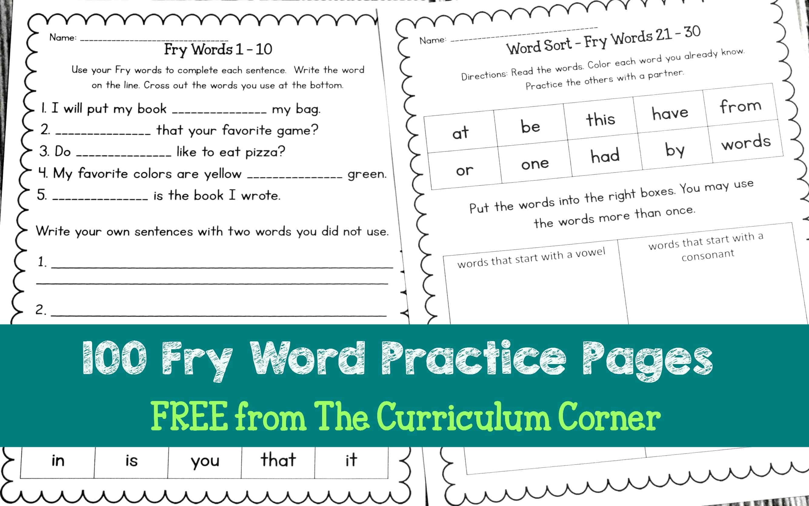 hight resolution of Fry Word Practice Pages - The Curriculum Corner 123