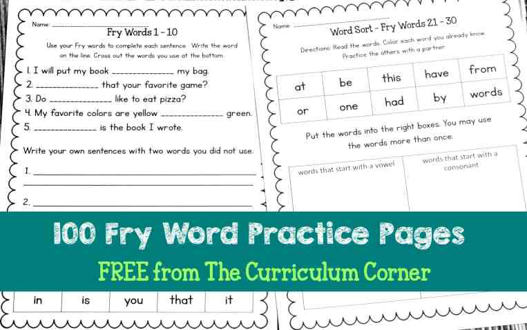 FREE Fry Words Practice Pages