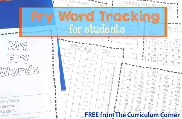 FREE Fry Word Tracking Tools for Students from The Curriculum Corner