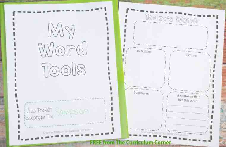 FREEBIE! Portable Word Wall Tools for Students | word families | vocabulary map | much more! | The Curriculum Corner