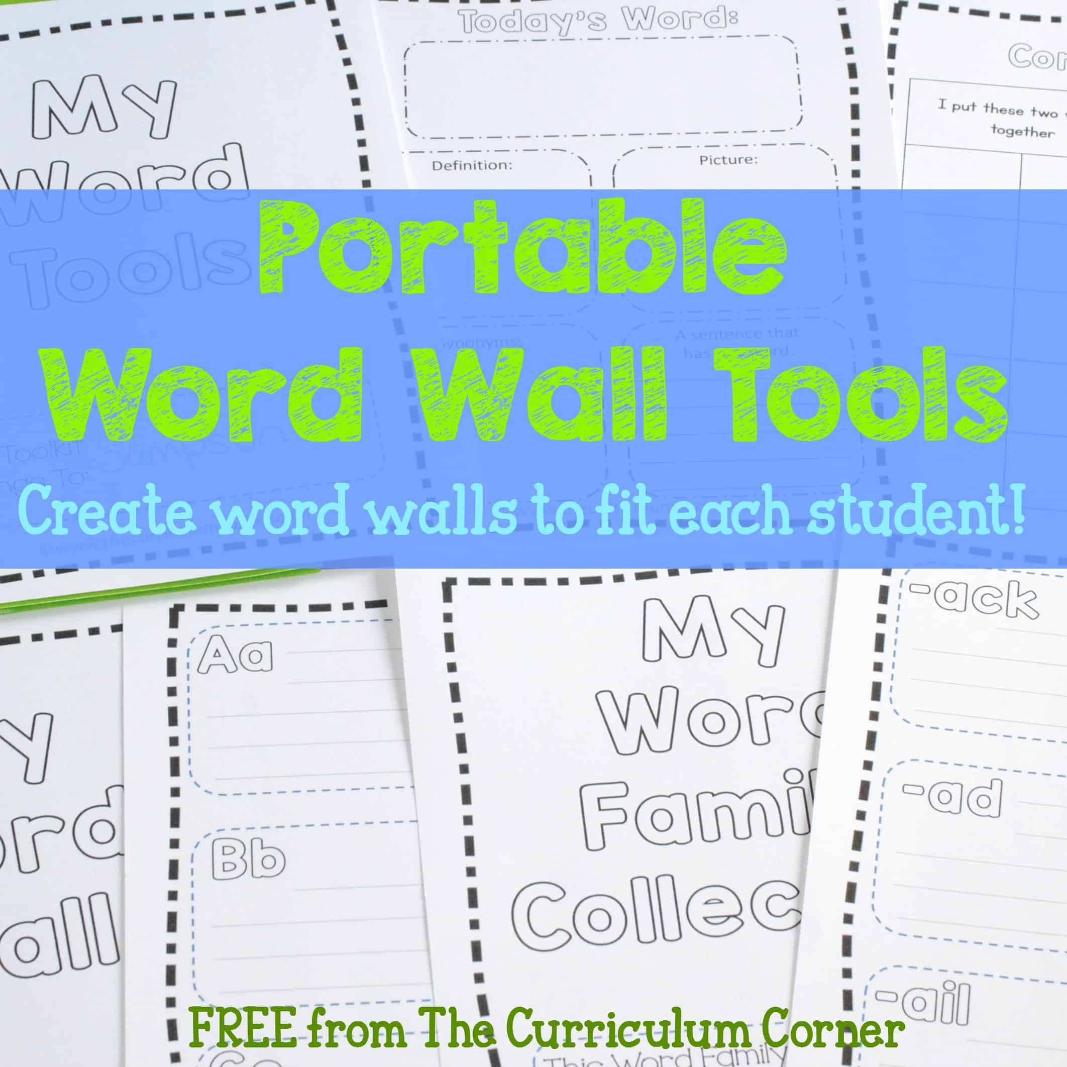 photograph about Word Wall Printable identify Transportable Phrase Wall Resources - The Curriculum Corner 123