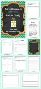 FREE Animal Research Writing Unit of Study from The Curriculum Corner |Mini-lessons, graphic organizers, blank books and more