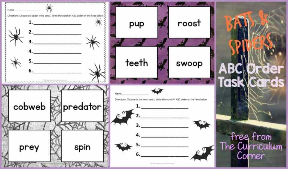 FREEBIE! Bats & Spiders ABC Order Cards & Recording Sheets | LIteracy Center | The Curriculum Corner