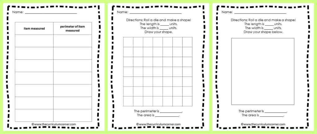 Area & Perimeter Collection of Resources for 3rd Grade FREE from The Curriculum Corner FREE resources!