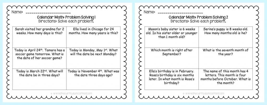 worksheet: Month Worksheets Calendar Math Free Printable First ...