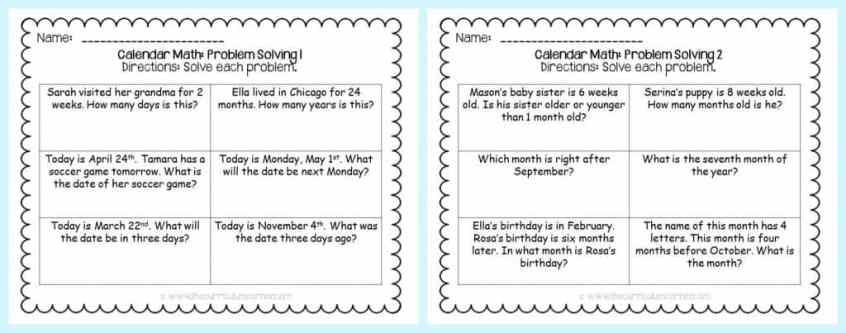 FREE Calendar Math Activities from The Curriculum Corner   calendar math journal   problem solving   anchor charts & more FREEBIE printables