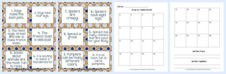 FREE! Fact & Opinion Practice Activities from The Curriculum Corner FREEBIE collection