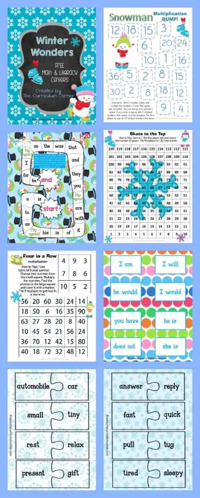 FREE Winter Centers for Math & Literacy from The Curriculum Corner math fact practice   Fry word games FREEBIE