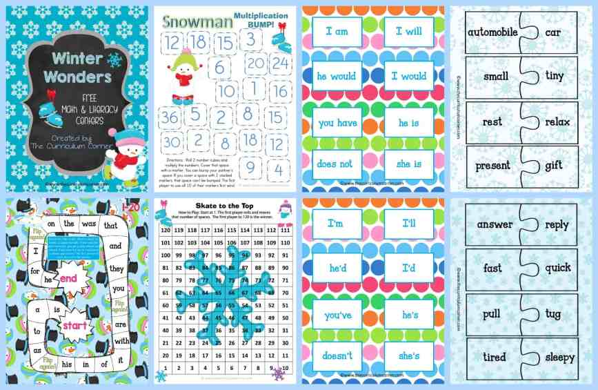 FREE Winter Centers for Math & Literacy from The Curriculum Corner math fact practice   Fry word games