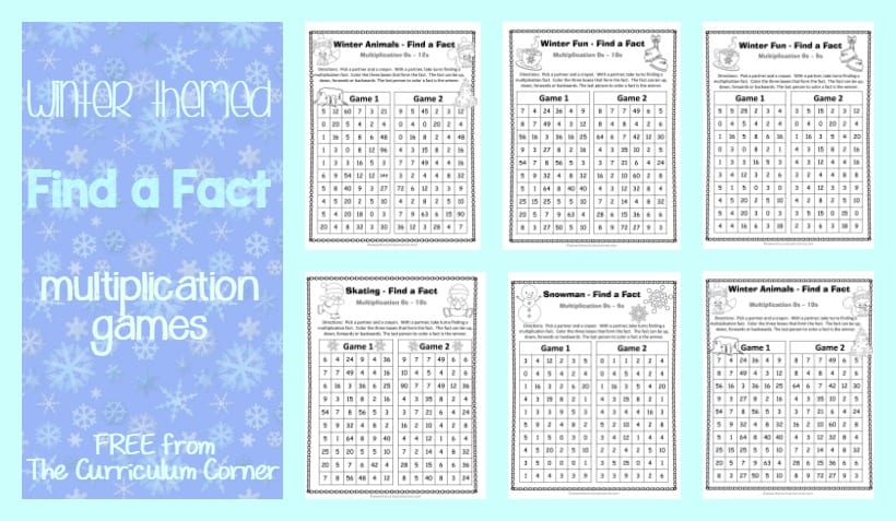 FREE Winter Themed Find a Fact Multiplication Games from The Curriculum Corner   Math Freebies