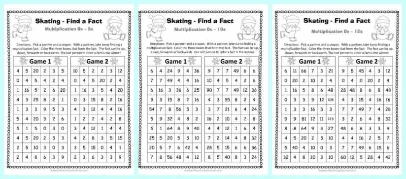 FREE Winter Themed Find a Fact Multiplication Games from The Curriculum Corner | Math Fact Fluency