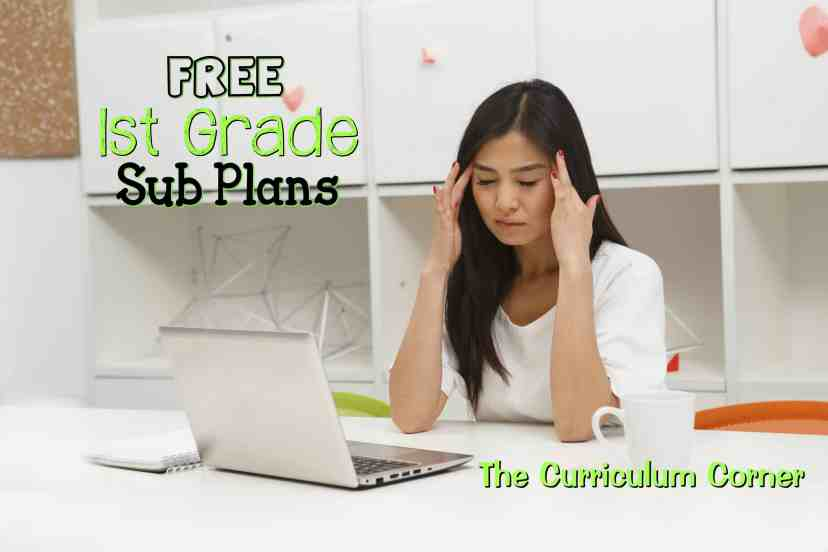 FREE 1st Grade Sub Plans from The Curriculum Corner